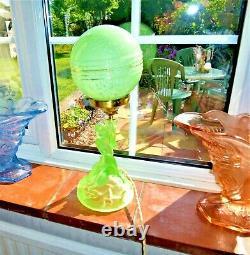 Art Deco Walther & Sohne Green Uranium Glass Rotterdam Table Lamp, New Wiring