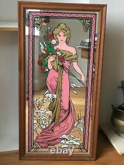 Art Nouveau Alphonse Mucha Printemps Mirror Vintage 1970s Rare Pink