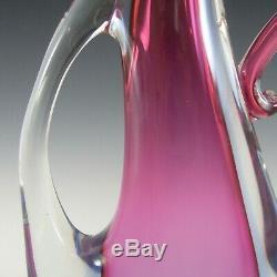 Arte Nuova Pustetto & Zanetti Murano Pink & Blue Sommerso Glass Vase