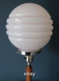 Authentic Art Deco Bakelite/ Phenolic Table Lamp With Baby Pink Glass Shade