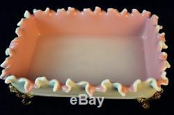 Awesome Peachblow Stourbridge Footed Ruffled Candy Dish Pink Amber Milk Glass