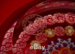 BACCARAT Concentric Millefiori Paperweight Made In France Magnificent Rare Pink