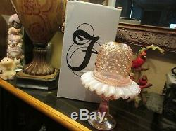BEAUTIFUL RARE PINK CHAMPAGNE FENTON 3 PC FAIRY LAMP With BOX 8 1/2 TALL