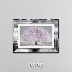 BLUSH PINK BLOSSOM TREE Framed Liquid Artwork 55cm x 75cm Chrome Frame