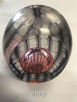 BREATHTAKINGPHILABAUM Art Glass Paperweight Dichroic in Lavender Pinks
