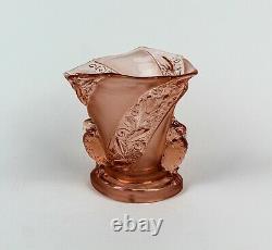 BROCKWITZ Art Deco Pressed Glass Pink Parakeet Bird Vase ca 1941 RARE