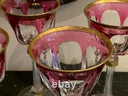 Baccarat Antique Fine and Rare Set Five Pink and Gold Gilt Wine Glasses