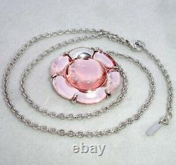 Baccarat B Flower Pendant Necklace Large Pink Mirror Crystal Sterling Silver New