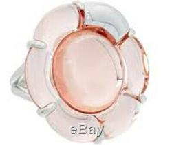 Baccarat Crystal B Flower Ring Small Sterling Silver Lt. Pink Mirror 55/US 7 New