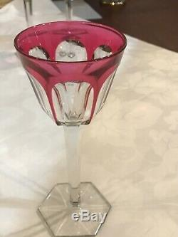 Baccarat France Crystal HARCOURT WINE RHINE GLASS pink Cut to Clear