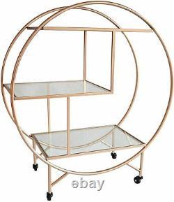 Bar Cart Large 3 Tier Drinks Trolley Art Deco Glass Shelves Vintage Rose Gold