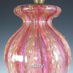 Barovier & Toso Murano Cordonato Oro Gold Leaf Pink Glass Lamp