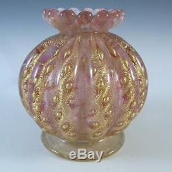 Barovier & Toso Murano Cordonato Oro Gold Leaf Pink Glass Vase