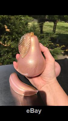 Barovier & Toso Murano Italian Art Glass 4 Piece Fruit Pear Apple Banana Cherrie