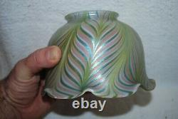 Beautiful Pink, Green, & Blue Iridescent Pulled Feather Art Glass Lamp Shade