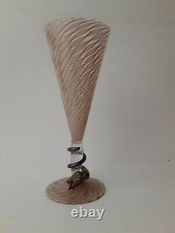 Beautiful Venetian Murano Salviati Snake Wine Glass Latticiano 9.75 RARE