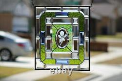 Beveled Rose Stained Glass Window Panel- Hanging 18 5/8x16 1/2