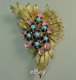 Big Vintage Signed BOUCHER Blue Purple Pink Art Glass Spray Fur Clip Brooch Pin
