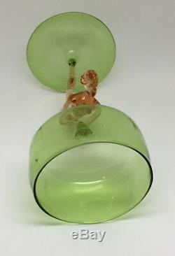 Bimini Austrian Lampworked Green Spirit Glass with Rare Pink Nude Stem c. 1930's