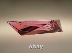 Bohemian Czech Art Deco Cubist Royalit Dichroic Cranberry Pink Glass Ashtray