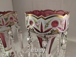 Bohemian Lusters Pink With Enamel Handpainted Flowers 10 1/4