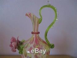 C1872 Salviati & C. Venetian Screziato Glass Vase Ewer Pink Green White Venetian