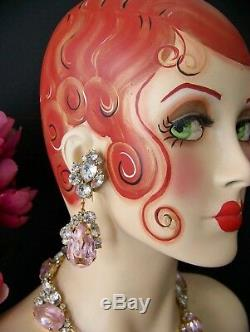 CZECH Icy Silver Pink Art Glass & Rhinestone Couture Necklace & Earring Set