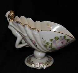 Cambridge Crown Charleton Pink Milk Glass Compote Nude Flying Lady Art Deco