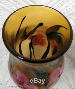 Charles Lotton Signed Spectacular Multi Flora Pink & Amber Vase C-1980