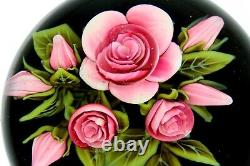 Clinton Smith Glass Paperweight Pink Rose Flowers 2020 Lampwork