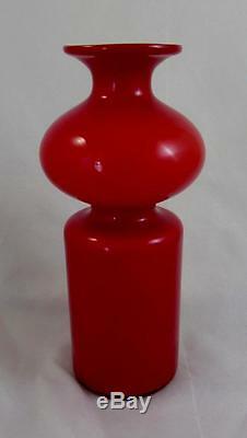 Coral & Opal Holmegaard Carnaby Bulge Vase Per Lutken 1960s Retro Design