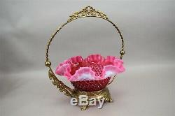 Cranberry Bridal Basket Fenton Hobnail Opalescent Brass Handle Pink Glass Bride