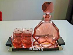 Czech Art Deco Decanter & 6 glasses + tray c1930s
