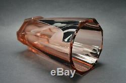 Czech Art Deco Modernism Pink Glass Vase with Black Enamel K Palda