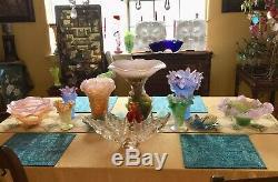 DAUM France Pate De Verre Crystal Magnum Grand Hibiscus Pink Vase 01279-1 NIB