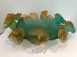 DAUM Pate De Verre Glass Green And Pink Rose Passion Bowl Numbered Edition