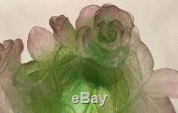 DAUM Pate de Verre French Crystal Trinket Dish Bowl Rose Flower Signed 5.25