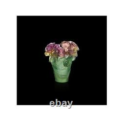DAUM Rose Passion Vase 05287 FRANCE CRYSTAL GLASS New Pink Green Numbered Edit