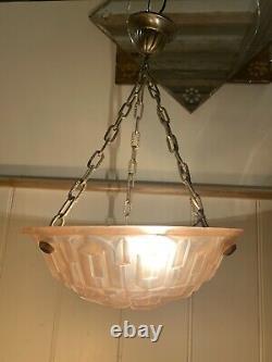 DEGUE Original Pink Art Deco Glass Ceiling Light Plafonnier Bowl Signed