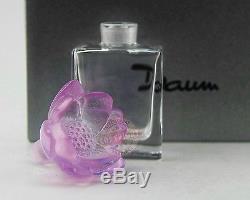 Daum Crystal Amazing Pink Lotus Perfume Bottle France Signed New Box 3999