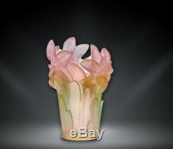 Daum Floral Collection Amaryllis Vase Pink Art Glass Made in France 05214-1 New