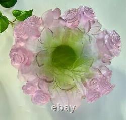 Daum Large Rose Bowl #01672 Retail $1,980 Pate de Verre French Crystal NEW