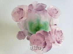 Daum Nancy Vase Green With Pink Roses Footed And Signed By Artist