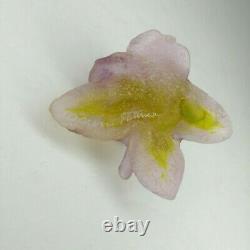 Daum Pate De Verre Crystal Lavender Pink Yellow Rose Flower Figurine Art Nouveau