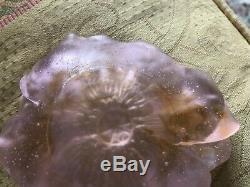 Daum Small coupelle egalntine flower violet pate-de-verre Pink glass dish bowl