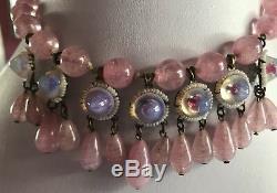 Delectable Vintage Pink Art Glass Rose Quartz Moonglow Dangle Necklace