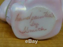 Details about FENTON ART GLASS PINK BASKET & BUNNY BILL FENTON SIGNED 9 BASKE