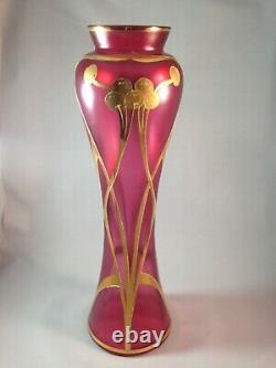 Exquisite tall Harrach Josephinenhutte Art Nouveau hand painted Rare vase
