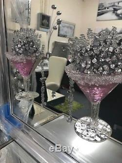 Extra large Pink Cocktail glass 3D glitter art mirrored picture, 4 glass picture