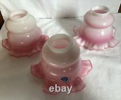 Extremely Rare Vintage Fenton Art Glass Rosalene Lamp Shades